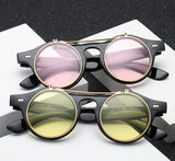 Jackjad Brand Unisex Vintage Round Steampunk Flip Up Sunglasses Men'S Women's Classic Double Layer Clamshell Design