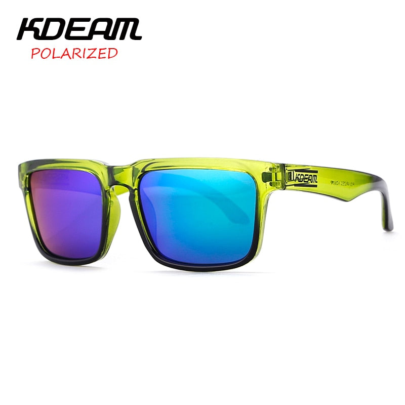Kdeam Green Women Sunglasses Square Frame Men Polarized Mirror Lens With Hard Case Kd901P-C8