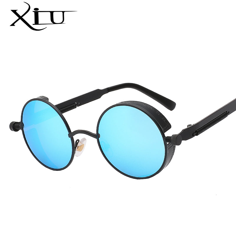 Xiu Brand Men'S Gothic Steampunk Mens Sunglasses Coating Mirrored Round Circle Retro Vintage