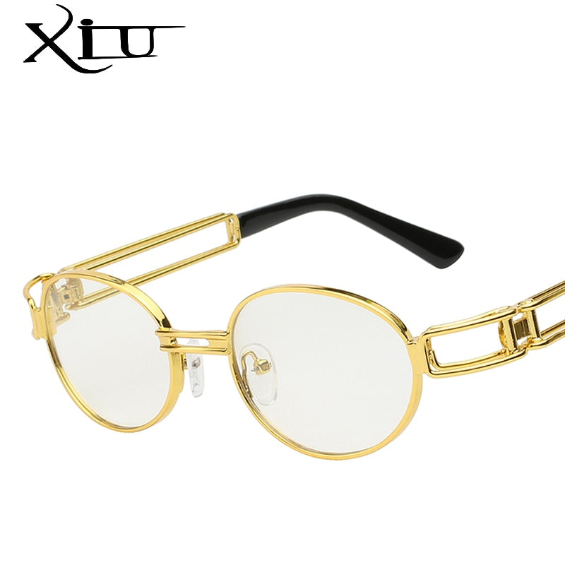 Xiu Brand Men'S Round Steampunk Sunglasses Clear Lens Glasses Gothic Flat Top Vintage