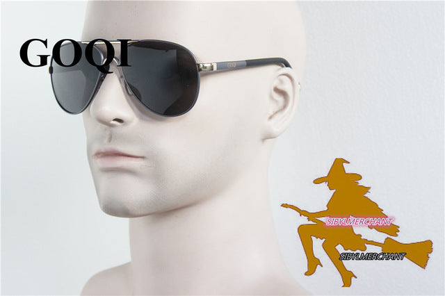 Goqi Supply Rubber Legs Alloy Frame Rivet Polarized Men Sunglasses Office Cool Man Vintage G8088