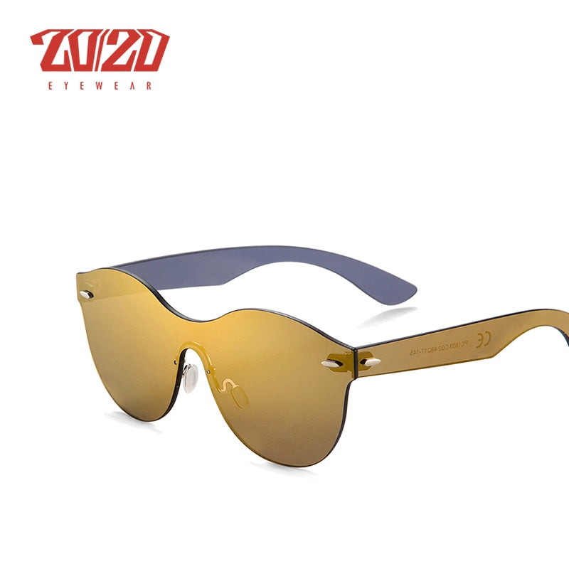 20/20 Brand Design Unisex Vintage Style Sunglasses Men Round Flat Lens Rimless Frame Women Pc1603