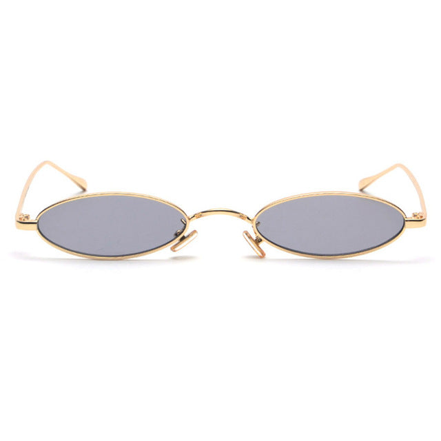 Small Oval Sunglasses For Men Women Gold Metal Frame 1282T
