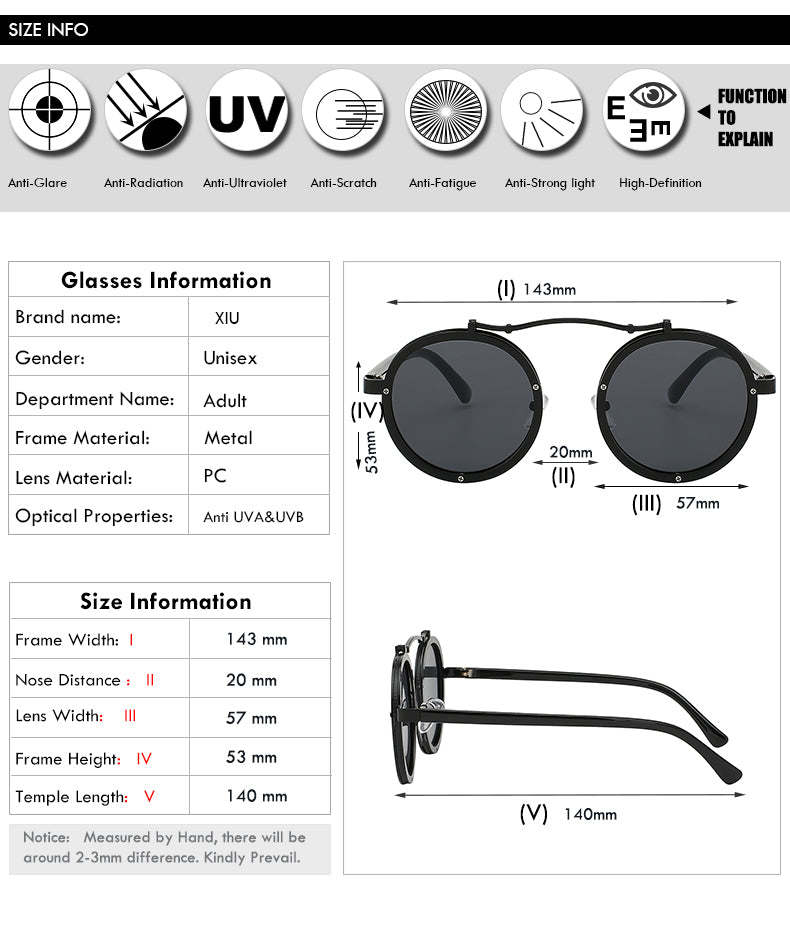 Xiu Brand Men'S Round Steampunk Sunglasses Men Retro Brand Designer Vintage Punk Uv400 Ce