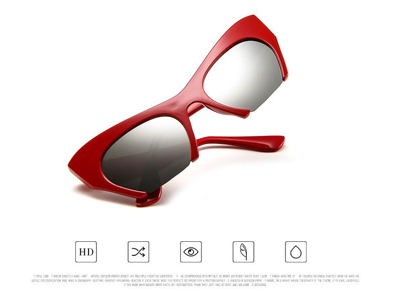 Zxwlyxgx Brand Women's Vintage Half-Box Cat Eye Sunglasses Ta19