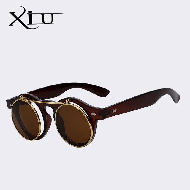 Xiu Brand Men'S Flip Up Round Shade Sunglasses Retro Vintage Men Women Brand Designer Punk Classic
