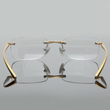 Bifocal Reading Glasses Men Women Rimless Aluminum-Magnesium Frame Diopter Presbyopic Eyeglasses +1.0+1.5+2.0+2.5+3.0+3.5 Rs341