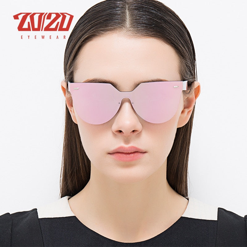 20/20 Brand Vintage Style Unisex Sunglasses Women Retro Flat Lens Rimless Frame Men Pc1608