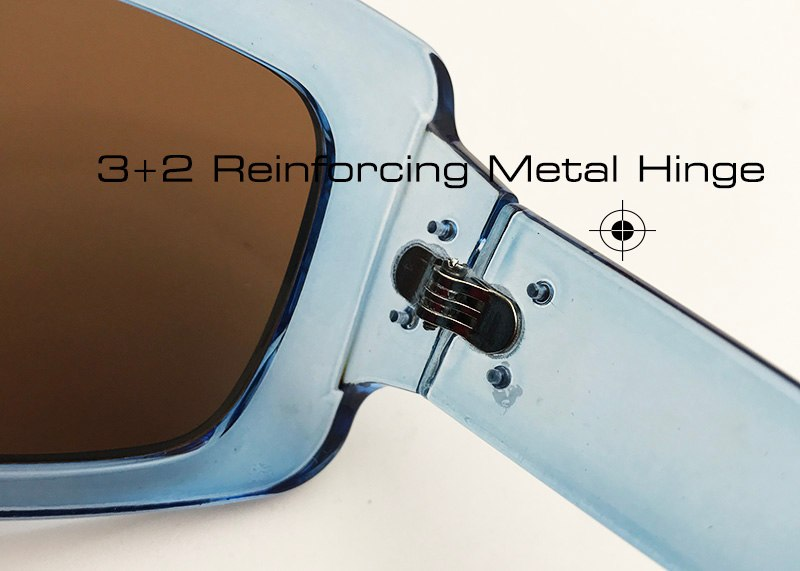 Shauna Unisex Nail Decoration Women Men Square Sunglasses Reinforcing Metal Hinge Retro