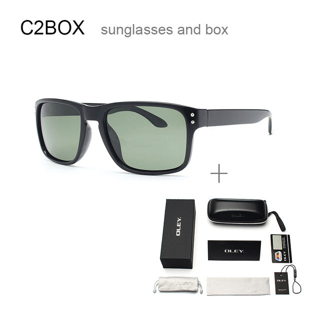 Oley Classic Polarized Sunglasses Men Glasses Driving Coating Black Frame Fishing Driving Y8133