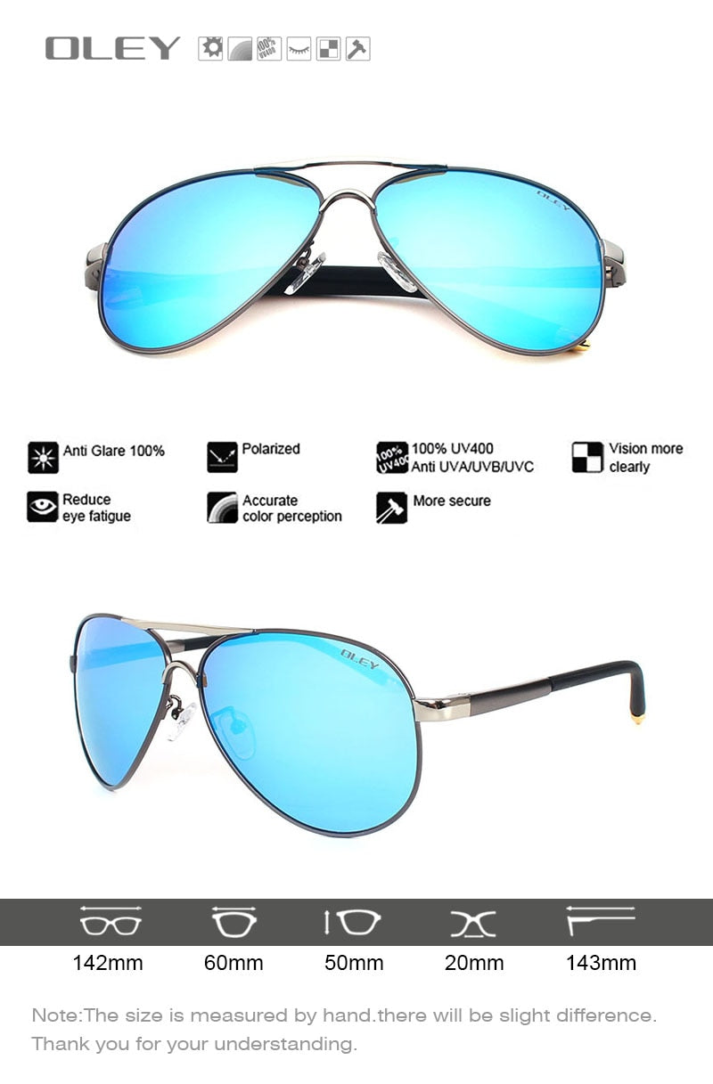 Oley Brand Unisex Polarized Sunglasses Men Women Driving Coating Spectacles Y7492