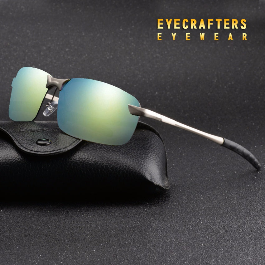 Silver Mens Uv400 Polarized Sunglasses Mirrored Sports Driving Rimless Metal Eyewear 3043Dm
