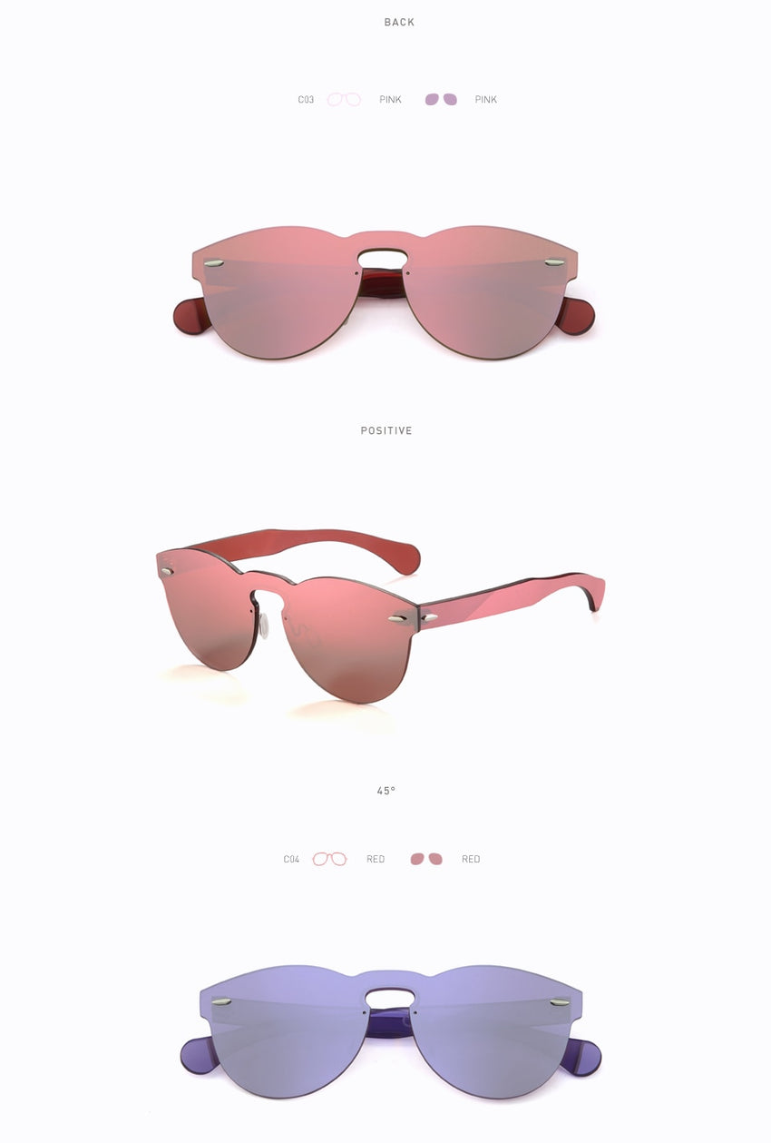20/20 Brand Designer Sunglasses Women Uv400 Retro Round Rimless Glasses Travel Men Pc1602