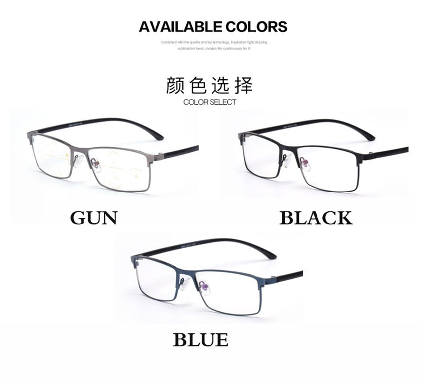 Belmon Multi-Focal Progressive Reading Glasses Men Diopter Eyewear Presbyopic Eyeglasses +1.0+1.25+1.50+1.75+2.00+2.25+2.5 Rs318