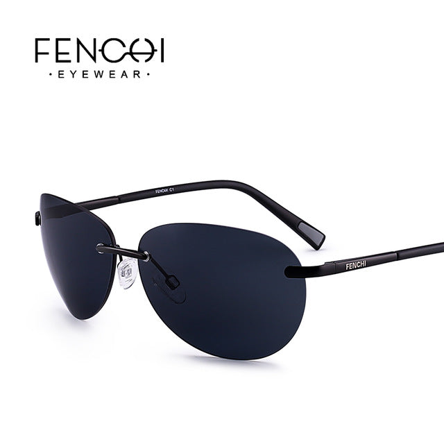 Fenchi Sunglasses Polarized Retro Rimless Driving Men Women High Quality Fhd9117A