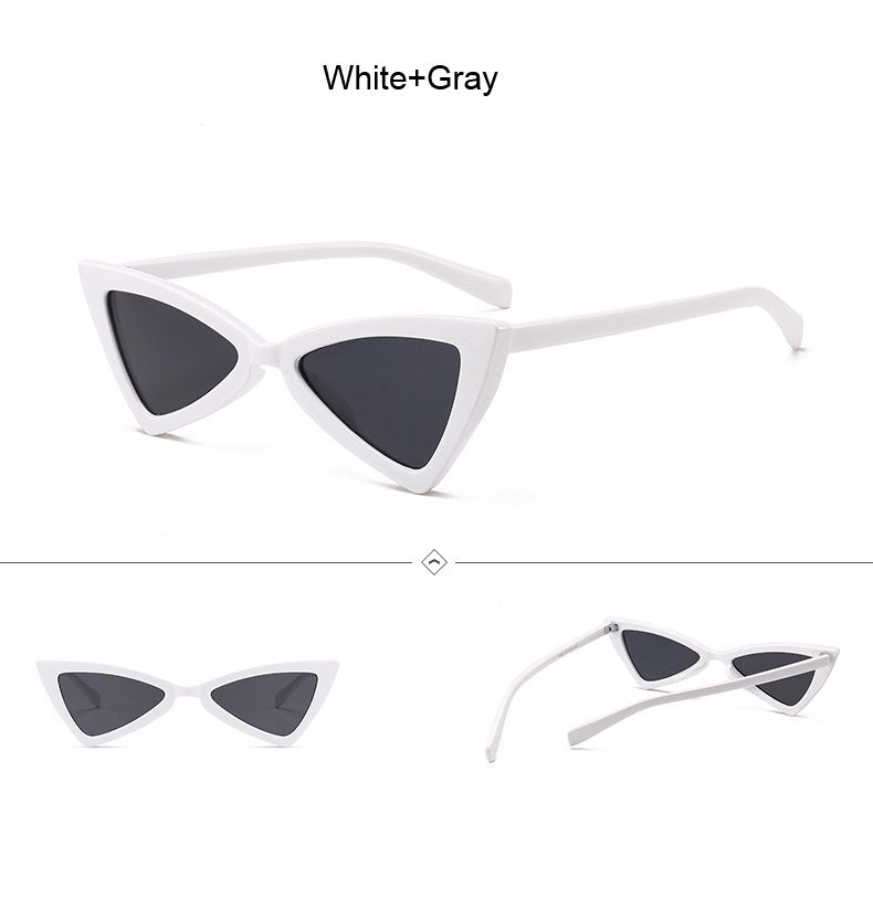Shopaholic Vintage Cat Eye Sunglasses Women Brand Designer Small Frame Retro Black