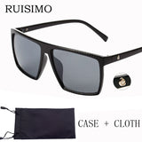 Ruisimo Brand Mens Retro Steampunk Square Frame Skullpolarized Sunglasses All Black Oversized