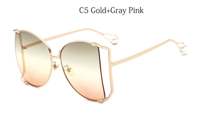 2018 New Half Frame Brand Designer glasses Women Square Pearl Sunglasses for Female Fashion Oversized Clear Pink Eyewear Ladies