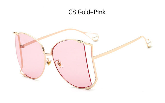 5ee83409b03 New Half Frame Brand Designer Glasses Women Square Pearl Sunglasses For  Female Fashion Oversized Clear Pink Eyewear Ladies 5.0 (3 reviews)