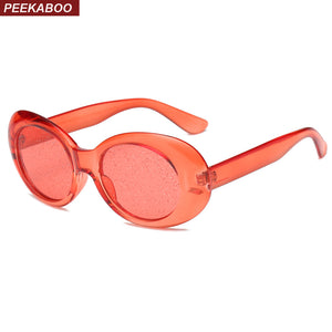 Peekaboo Red Oval Sunglasses Women Colorful Candy Color Yellow Pink Purple Transparent