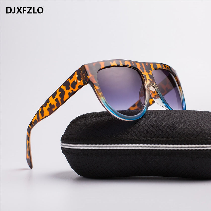 Djxfzlo Brand Women's Square Sunglasses Vintage Big Full Frame T-A24