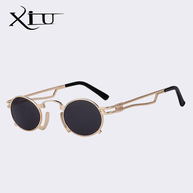 Xiu Brand Men'S Steampunk Sunglasses Oval Shades Metal Vintage Style