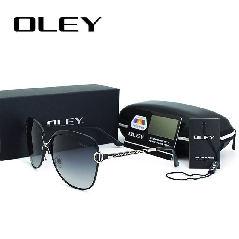 Oley Brand Women's Sexy Luxury Polarized Sunglasses Red Metal Frame Oversized Y7691
