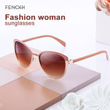 Fenchi Sunglasses Women Round Metal Mirror Cat Eye Driving Fhd14389