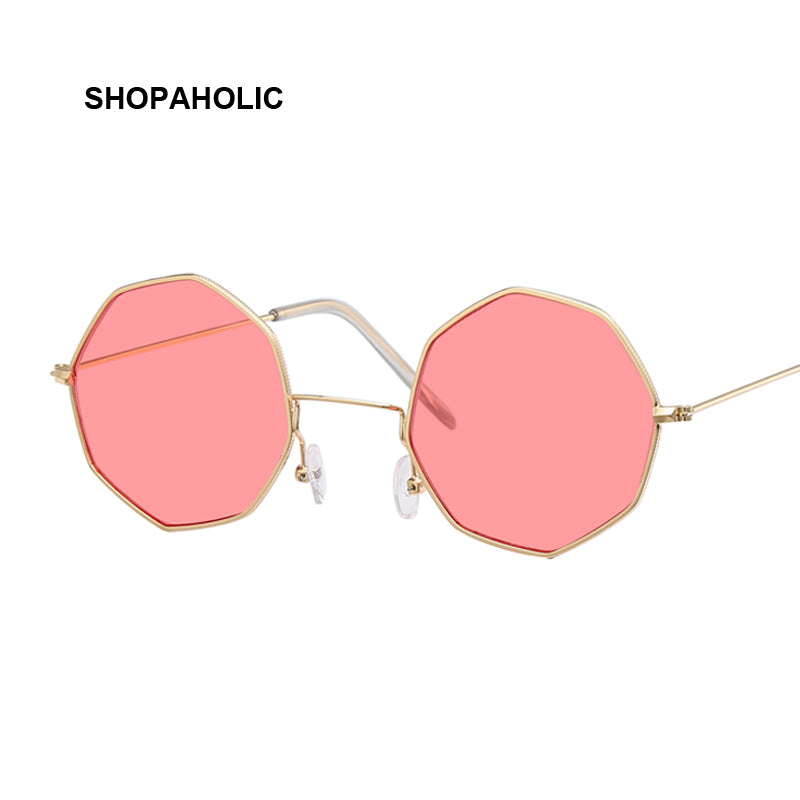 Shopaholic Trendy Candy Colored Sunglasses Women Hexagon Transparent Lens