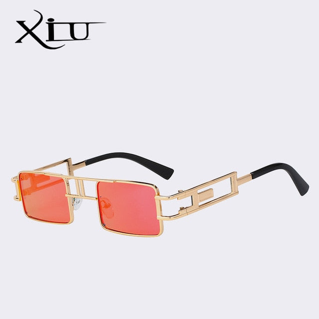 Xiu Brand Men'S Square Steampunk Sunglasses Women Vintage Uv400 Ce Fda Standard