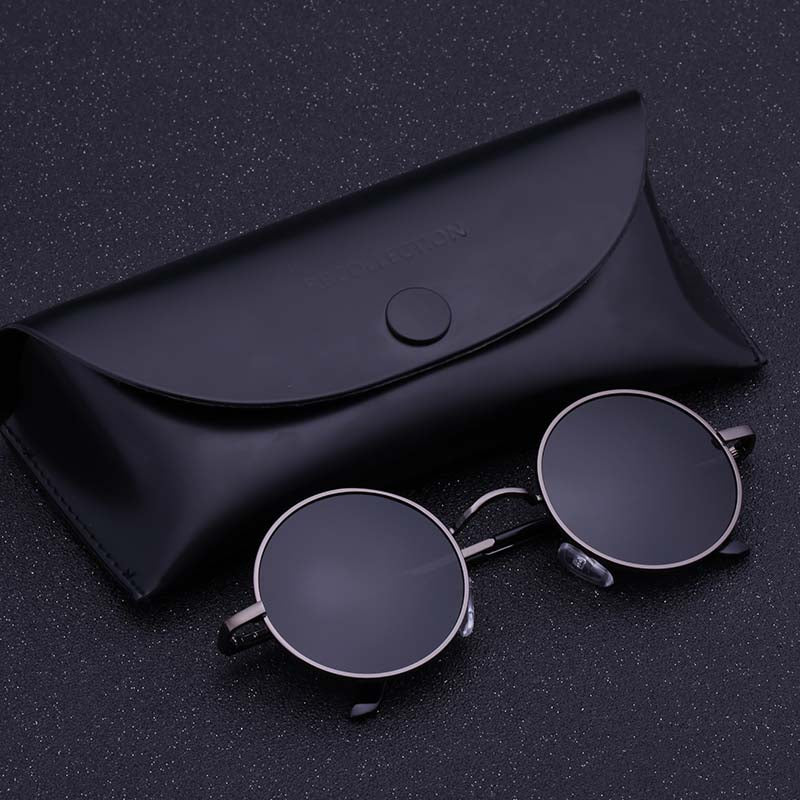 Black Metal Polarized Sunglasses Gothic Steampunk Sunglasses Mens Womens Fashion Retro Vintage Round