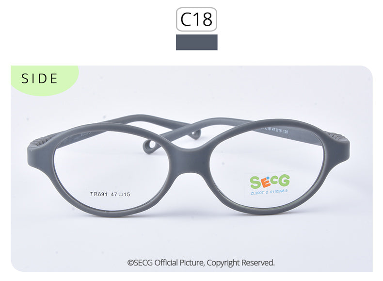 Secg'S Brand Unisex Children'S Oval Eyeglasses Boys Girls Plastic Frames Vibrant Colors Tr691