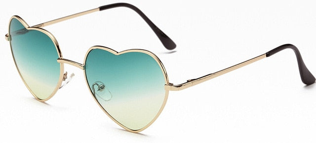 Ladies Heart Shaped Sunglasses Metal Women Brand Designer Fashion Rimless Love Clear Ocean