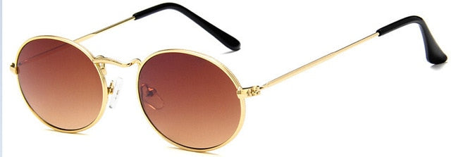 Red Bean Brand Women's Small Oval Gold Gray Sunglasses For Women Luxury Alloy Z3547