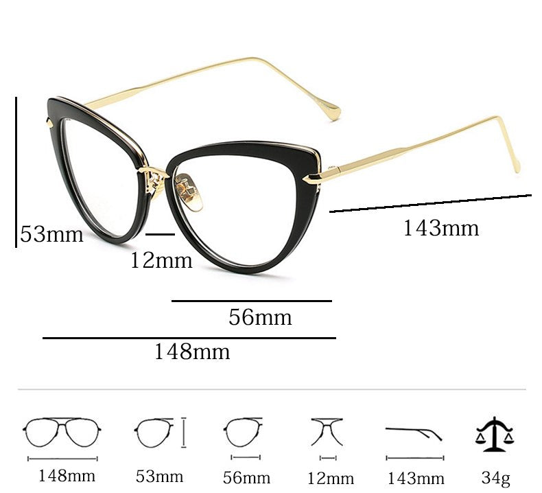 Reboto Brand Eye Glasses Frames For Women Cat Eye Glasses Frame Clear Lens Women Eyeglasse Tr90