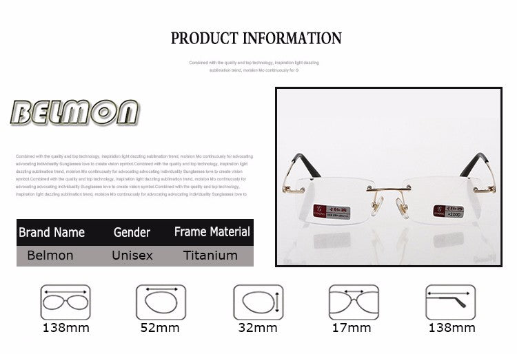 Pure Titanium Frame Magnetic Reading Glasses Crystal Rimless Diopter Glasses Presbyopic Eyeglasses +1.0+1.5+2.0+2.5+3.0+3.5+4.0