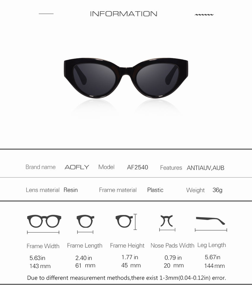 Aofly Brand Design Cat Eye Sunglasses Women Vintage Shades Af2540
