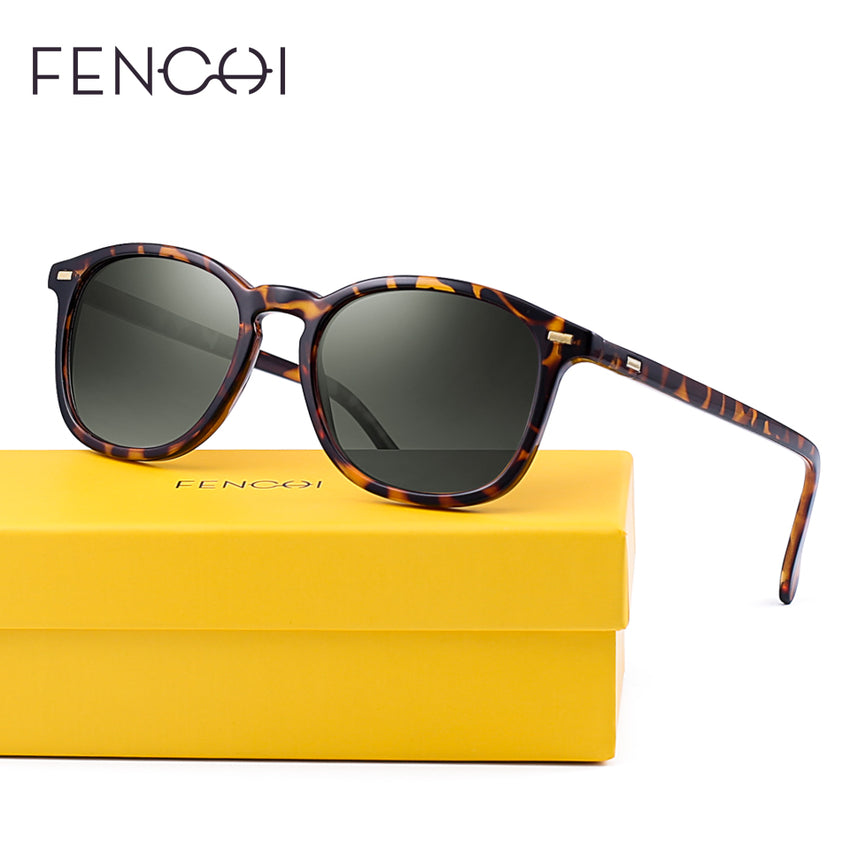 Fenchi 479 Square Polarized Sunglasses Men Women Vintage Retro Uv400