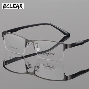 Bclear Fashion Ultra-Light Tr Legs Glasses Frame Men'S Metal Half Frame Myopia Presbyopia Prescription Semi-Rimless Glasses