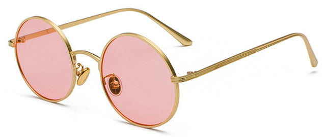 Peekaboo Gold Round Metal Frame Sunglasses Men Retro Summer Style Women Red Lens Sun Glasses Unisex Yellow Pink Black