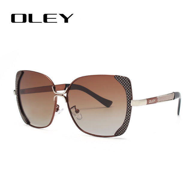 Oley Classic Brand Fashion Large Frame Women's Polarized Sunglasses Butterfly Hd Retro Uv Protection Goggles Y5190