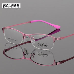 Bclear New Arrival Women Metal Alloy Glasses Frame Ultra-Light Frames Half Rim Optical Eyeglass Frame Colorful Eyewear Tr Legs