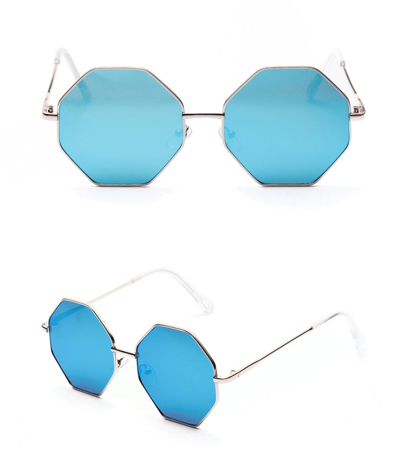 Peekaboo Big Vintage Polygon Sunglasses Female 2019 Octagon Tinted Clear Sun Glasses For Women Men Metal Frame Uv400