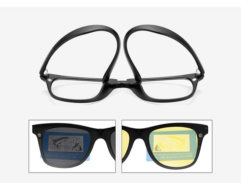 Ralferty Multi-Function Magnetic Polarized Clip On Sunglasses Men Women Ultra-Light Tr90 3D Yellow Night Vision Glasses