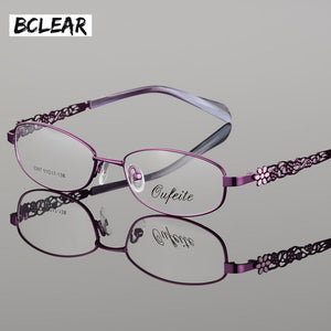 Bclear High Quality Metal Alloy Female Eyeglasses Frames Full Rim Optical Frame Women Myopia Reading Prescription Eyewear Flower