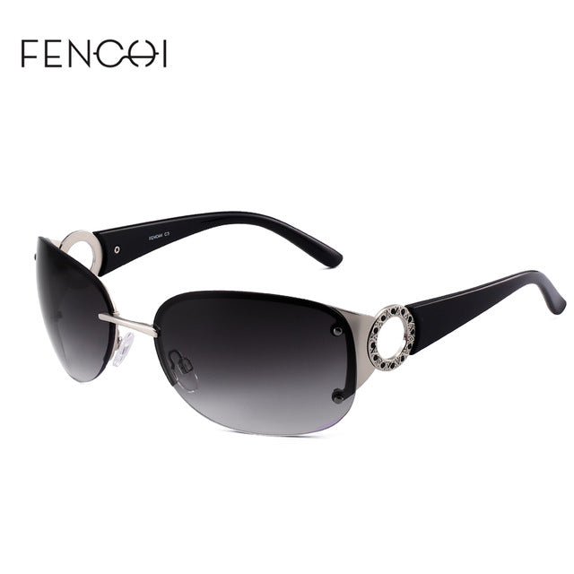 Fenchi Sunglasses Women Metal Rimless Driving Mirror Over Size Fhd17206