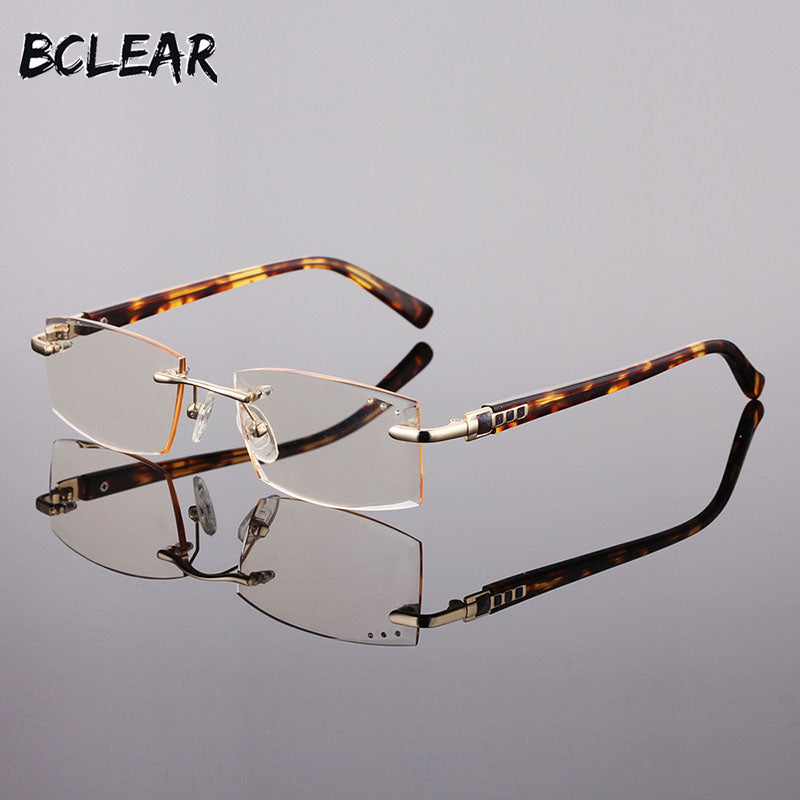 Bclear High Quality Men Rimless Metal Optical Frame Presbyopia Eyeglasses For Reading Diamond Trimming Glasses Anti-Blue Lenses