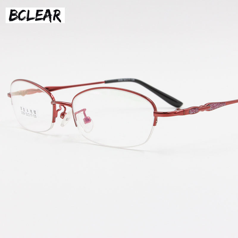 Bclear Lady Fashion Classic Alloy Opical Frame Women Vintage Semi-Rimless Spectacle Frames Sexy Female Colorful Retro Eyeglass