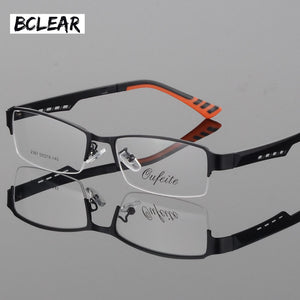 Bclear Men'S Business Eyeglasses Frame Half Frame Glasses Frame Titanium Alloy Ultra-Light Myopic Optical Frames Tr Legs S2387