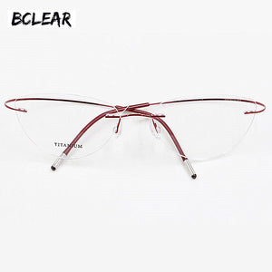 Bclear Popular Women Cat Eye Style Eyeglass Flexible Spectacle Eyewear Fashion Lightness Memory Titanium Rimless Optical Frame